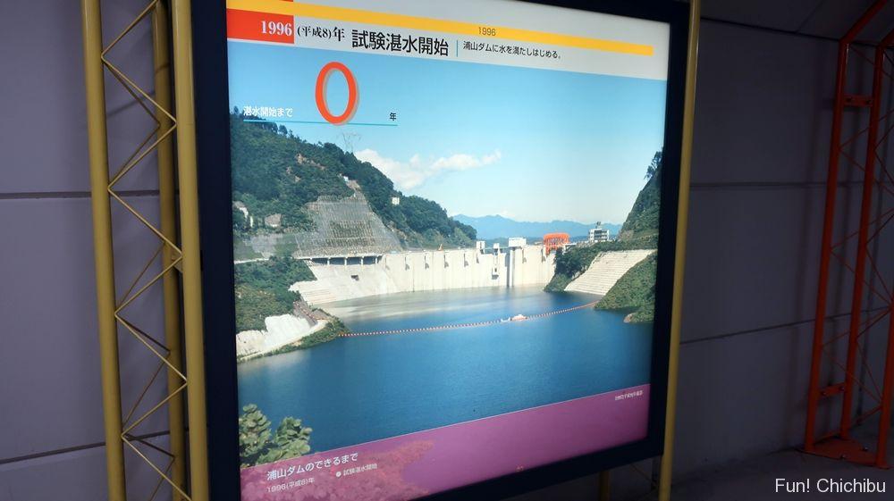 試験貯水の浦山ダム