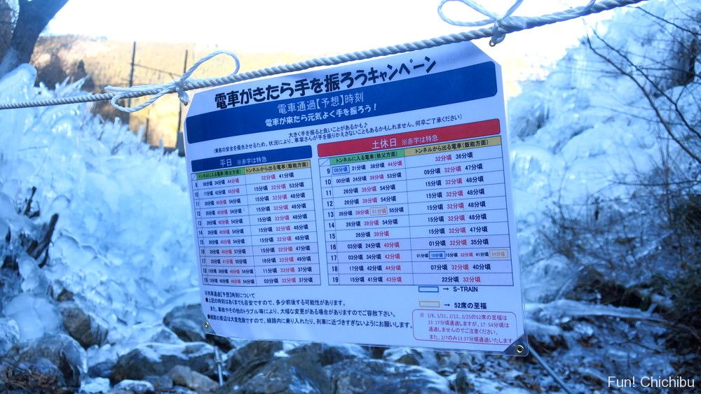 「あしがくぼの氷柱」の前を通る電車の予想時刻表
