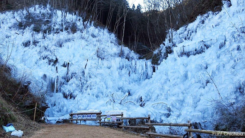 あしがくぼの氷柱 山の斜面全体を覆いつくす氷柱