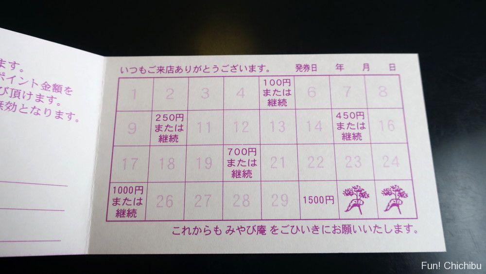 みやび庵のポイントカード