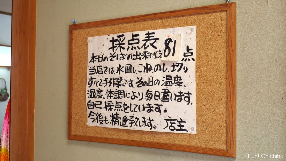 和味(なごみ)の店主が付けたその日の蕎麦の採点表