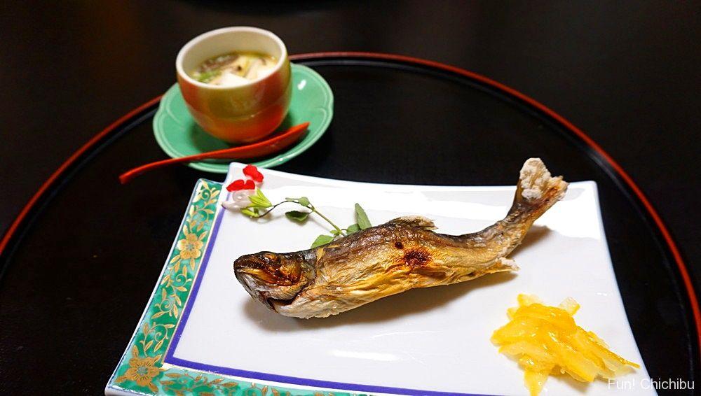 岩魚の塩焼きと茶碗蒸し
