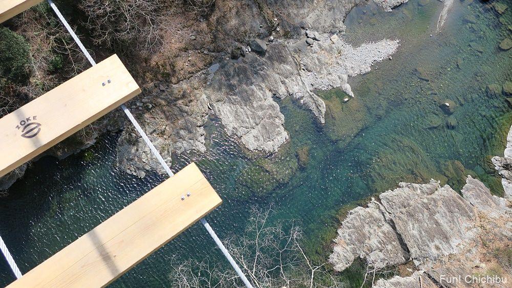 秩父ジオグラビティパークの吊り橋からのぞいた荒川