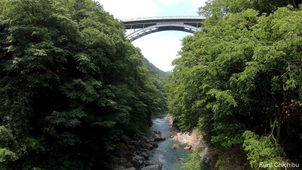 秩父ジオグラビティパーク キャニオンスイング体験 白川橋を眺める