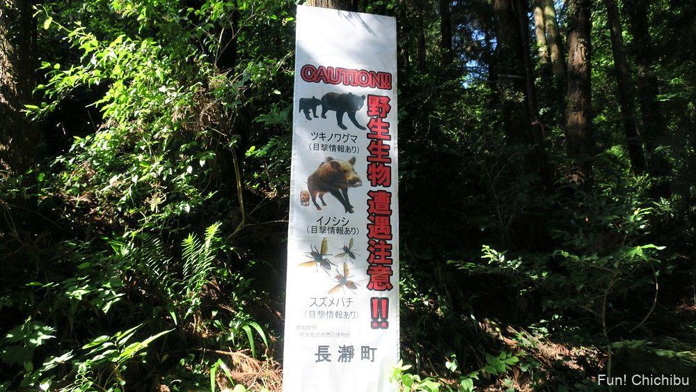 長瀞アルプス宝登山 野生動物注意の看板