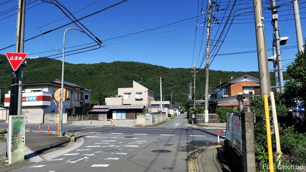長瀞アルプス宝登山 秩父鉄道野上駅前の国道140号