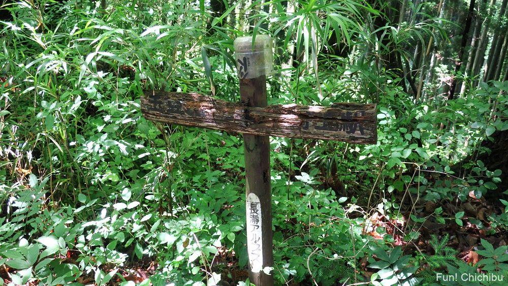 長瀞アルプス宝登山 野上峠の標識