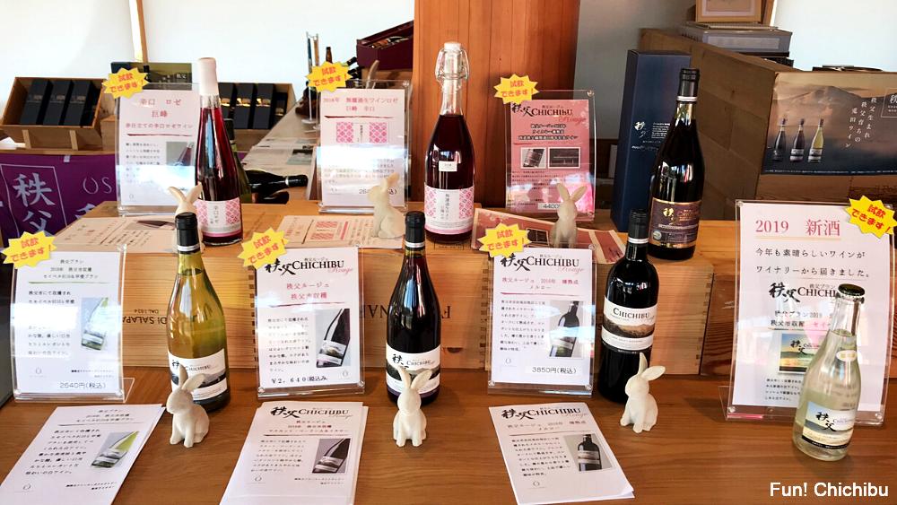 ツーリストテーブル釜の上 秩父うさぎだ食堂 兎田ワイナリーのワイン 常時5種類が用意されている