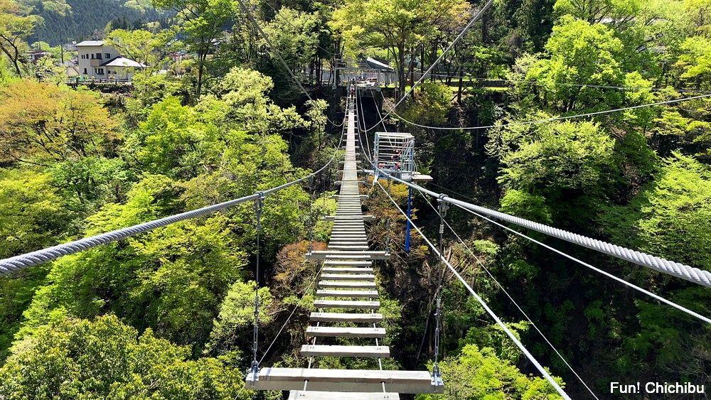秩父ジオグラビティパーク キャニオンバンジー 吊り橋をワイヤーのみで渡る必要があります
