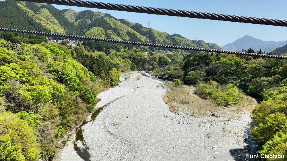 秩父ジオグラビティパーク キャニオンバンジー デッキからの眺め(武甲山と秩父市内方面)